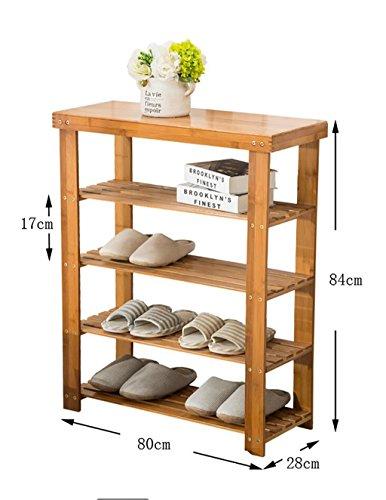 Étagères en bambou étagères en bambou étagères à bas prix en bois massif en bois massif étagères économiques étagères économiques salon de la maison armoire à chaussures ( Couleur : C , taille : 80cm )