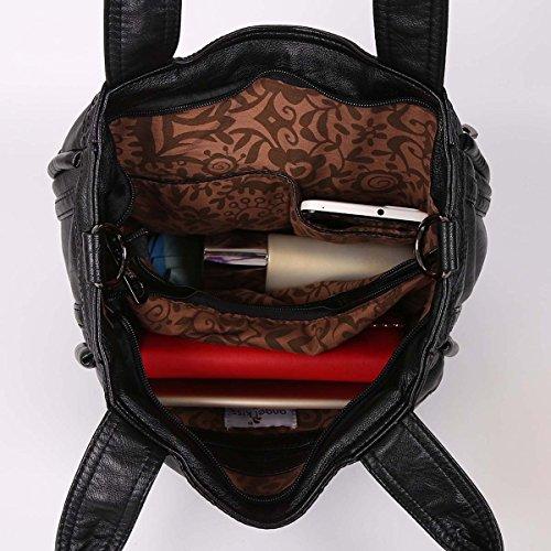 21K Borsa in pelle in PU borsa a tracolla delle donne con zip XS161355/3 nero