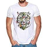 Herren T-shirt,Sonnena Männer Druck Tees Shirt Kurzarm T Shirt Bluse Sommer, Frühling/Weiß/Modal/Gedruckt/O Hals/1 * Männer Bluse (M, Gut Weiß)