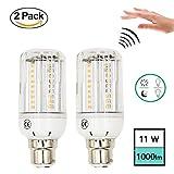 LuxVsta 11W Bewegungssensor und Dämmerungssensor LED Maislampe B22 Warmweiß 2800k 1000 Lumen mit Lichtstrahlwinkel 360 Grad in der Erfassungsbereich 5-8 Metter (2-Stück)