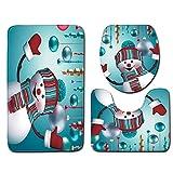 Amphia Bad Rutschfeste Teppich + Deckel Toilettendeckel + Badematte einfach absorbieren Wasser, Badematte/Fußmatte - 3 Stück Rutschfeste Badewanne Matte Bad Küche Teppich Türen Dekor(45 * 75cm)