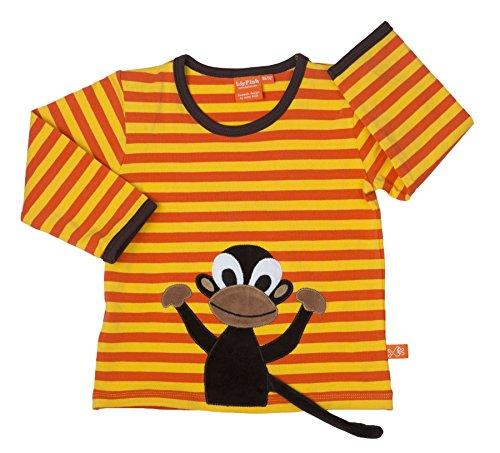 LIPFISH Jungen T-Shirt Langarm Orange Gelb 3-D Applikation Affe BioBaumwolle - Größe: 110 (3d Gelbes T-shirt)
