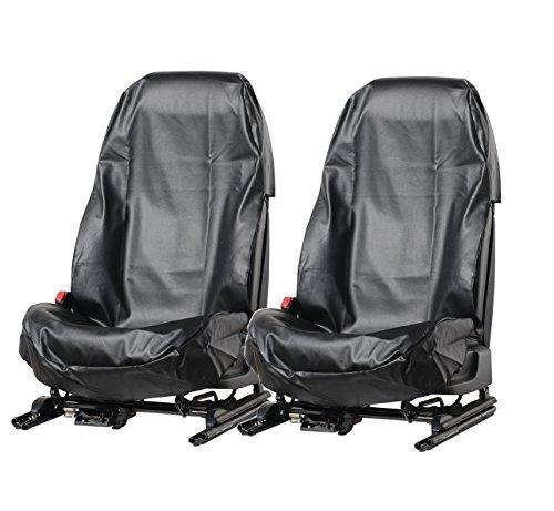 L&P A077 2 Stück Sitzschoner Werkstattschoner Sitzbezug aus robustem Kunstleder SCHWARZ Schonbezug wasserdicht + pflegeleicht für Sitze mit und ohne Airbag Seitenairbag