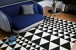 neri moderni tappeti di design Ouse Carpet 120 x 170 cm ON06 triangoli bianchi e neri in cotone al 100%