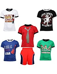 Gkidz Boys Pack of 5 Half Sleeve T-Shirts and Bermudas (JB5PCKATT-1_N_BER-002_Multi Color)