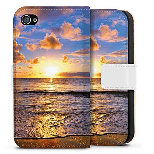 Apple iPhone X Silikon Hülle Case Schutzhülle Sonnenuntergang Meer Wolken Sideflip Tasche weiß