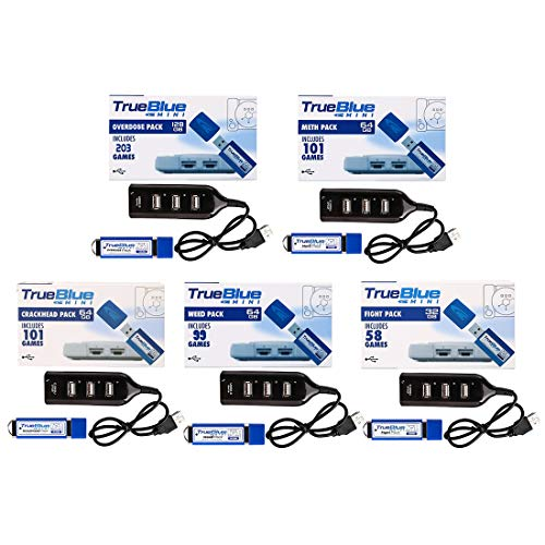 Spieland 5Pack True Blue USB Stick: Crackhead Pack, Meth Pack, Fight Pack, Weed Pack, Overdose Pack für Playstation Classic mit 562 Spiele