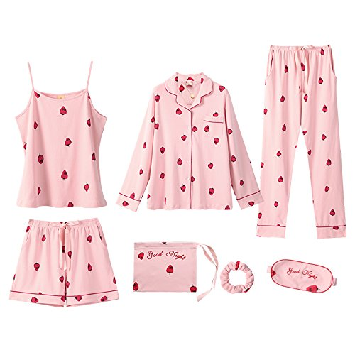 JINSHENG Frühling und Herbst Strawberry Pyjamas Sieben Sätze von Weiblichen Sommer Baumwolle langärmeligen Sling Baumwolle Home Service set 175 (XXL) J98912095 Rosa