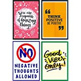 Craft Qila Good Vibes Inspirational Motivational Self Adhesive Posters for Room Decoration - Pack of 4 (300 GSM Thick Paper, 45 x 30 x 2 cm)