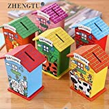 ZHENGTU Piggy Bank for Kids Wood House Animal Designs, Educational Learning Toys Multi Color Perfect Return Gift for Kids Bir