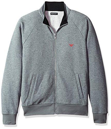 Emporio Armani Herren Basic French Terry Zipup Sweater Thermo-Unterwäsche, Oberteil, Dunkelgrau gemischt, Small