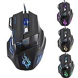 cravog Professioneller PC Laptop LED optische Gaming Maus Big einstellbar Mäuse (USB/5500DPI/7Tasten)