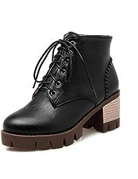 QIN&X Donna con fondo piatto piattaforma scarpe Martin stivali scarpe,Kaki,37