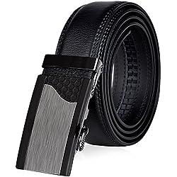 VBIGER Cinturón Cuero Cinturones Hebilla Automática (un tamaño, Negro 22)