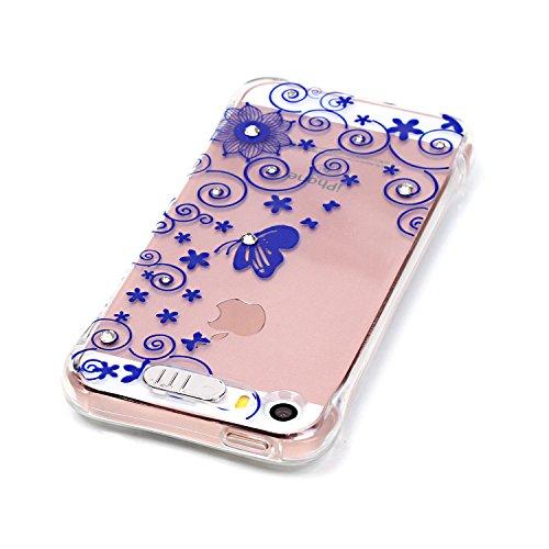 Coque iPhone SE, MOONCASE iPhone 5s Etui Ultra Mince Coque Housse Silicone Parfait Cover Case avec Absorption de Choc pour iPhone SE / 5S / 5 - YX02 Série de diamants - YX07