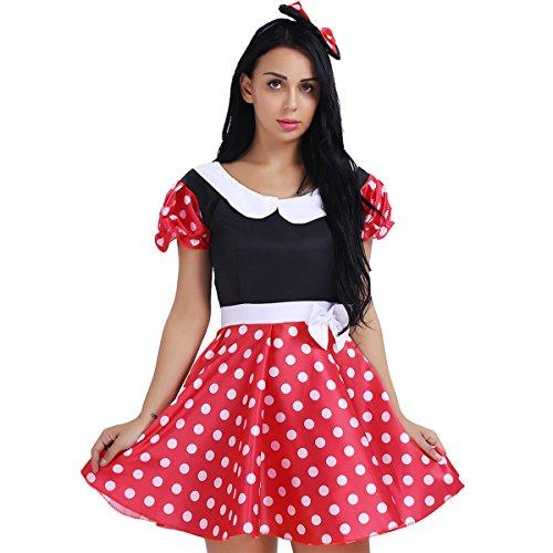 dPois 3PCS Damen Kleid Kostüm Prinzessin Kleid mit G-String Haarband mit Maus Ohren Haarreif Karneval Kostüm Fasching Halloween Party Cosplay Maus Outfit Mauschen Rot&Schwarz M