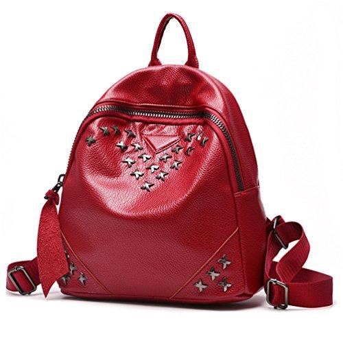Auspicious beginning Daypack scolastico scolastico delle donne con stampa in metallo X trasversale vino rosso