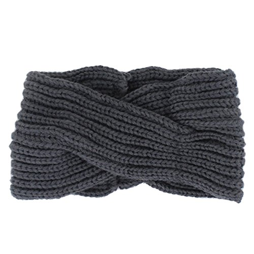 ZUMUii Butterme Twisted Knotted Crochet Strick Stirnband Damen Frauen Turban Kopftuch Bandanas Kopfband Haarband Ear Warmer Haarband (Dunkelgrau)