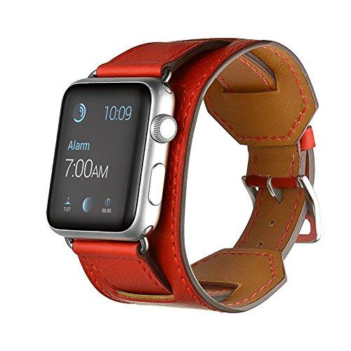 FOTOWELT für Apple Watch Band, Stulpe Lederband -Bügel-Armband Ersatz-Handgelenk-Band mit Adapter Haken für Apple-Uhr iWatch 38mm - Orange Rot (Handgelenk-stulpe-armband)