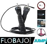 FloBaJo - Profi-Springseil Speed Rope, Sport mit Extra-Stahlseil, Tasche & Einstiegsguide (schwarz)