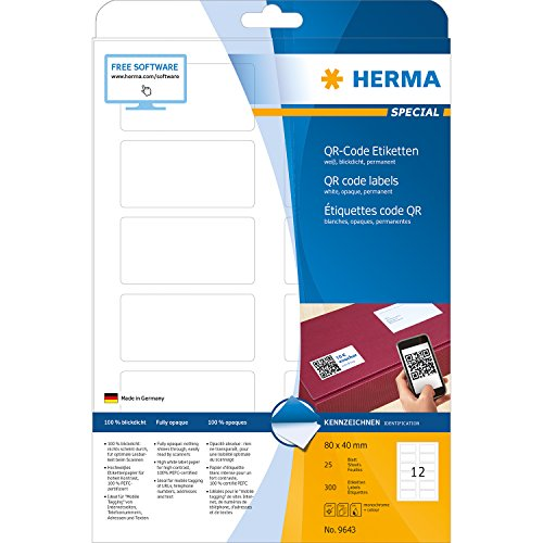 Herma 9643 - Pack de 300 etiquetas, 80 x 40 mm, color blanco