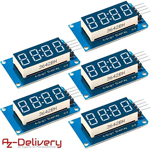 AZDelivery 5 x 4 Bit Digital Tube LED Display Modul I2C mit Clock Display für Arduino und Raspberry Pi mit gratis eBook!