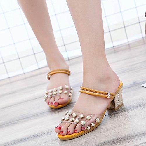 Lgk & fa sandali da donna estate pantofole sandali in estate paillettes due indossando spessa e Cool pantofole yellow