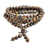Jovivi Collana o bracciale a più giri con perle naturali di occhio di tigre, 6mm, stile tibetano, buddista, Buddha Mala cinese, elastico, unisex