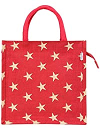 EB1004 Gold Star Printed Red Colour Jute Handbag