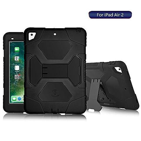 iPad Air 2 Hülle Silicone Kinder, ACEGUARDER Schutzhülle Case Etui Stoßfest Hülse Tasche mit Ständer für Apple iPad Air 2 / iPad 6 (Schwarz)