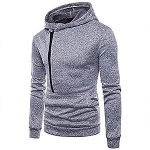 Herren Pullover,TWBB Einfarbig Herbst Winter Tasche Kapuzenpullover Hoodied Sweatshirt Lange Ärmel Mantel Outwear