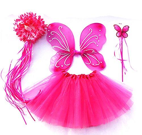 Tante Tina - Schmetterling Kostüm für Mädchen - 4-teiliges Set - Feenflügel / Schmetterlingsflügel Verkleiden - Fuchsia mit Haarkranz