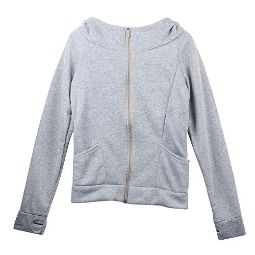 Ouneed® Zippe Haut Sweat- Shirt a Capuche Nez Entourne Free Size Glauque
