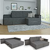 XXL Ecksofa mit Schlaffunktion 260 x 160 cm Grau - Eckcouch Relax Sofa Couch Schlafsofa Kissen...