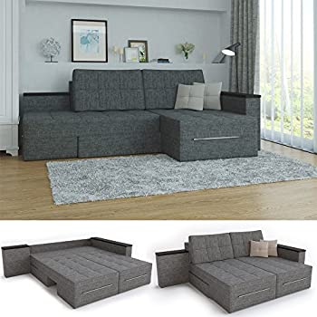 xxl ecksofa mit schlaffunktion 260 x 160 cm grau eckcouch relax sofa couch schlafsofa kissen. Black Bedroom Furniture Sets. Home Design Ideas