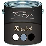 The Flynn hochwertiger Fliesenlack glänzend Grau Weiß Schwarz ALLE RAL 2 Komponenten Fliesenlack inkl. Härter (2,5 kg, Grau)