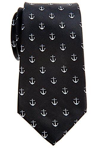 Retreez Klassische Krawatte mit Ankermuster, gewebte Mikrofaser, 8cm, in verschiedenen Farben Gr. onesize, schwarz (Kirche Krawatten Für Jungen)