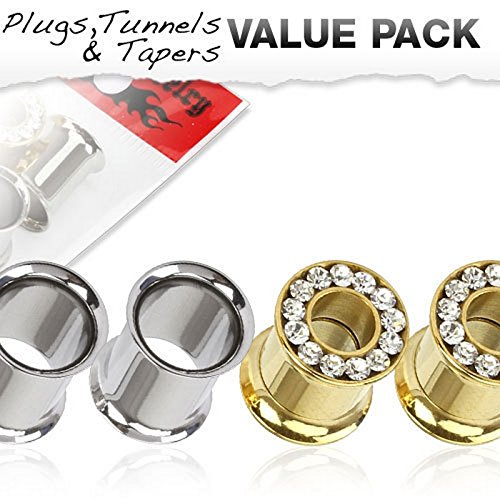 Lot de 4 Piercing tunnel Taille 8 mm