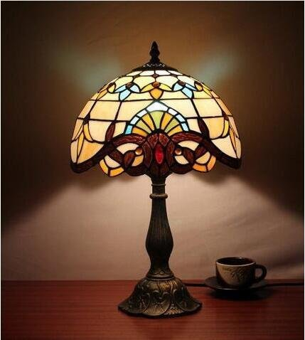 Carl Artbay 12-Inch Vintage Pastoral Baroque Stained Glass Tiffany Table Lamp Bedroom Lamp Bedside Lamp