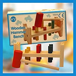 Brand New in Box A-Z Traditional Mini Wooden Hammering Bench Toy with Pegs & Hammer 12+ Mths