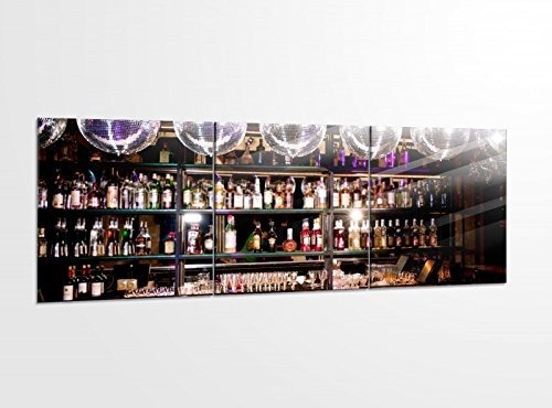 Acrylglasbilder 3 Teilig 150x50cm Bar Alkohol Disko Nachtleben Party Druck Acrylbild Acrylbilder Bilder Acrylglas 14?5807, Acrylglas Größe 6:BxH Gesamt 150cmx50cm
