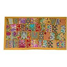 Rastogi artesanías indio hecho a mano bordado Patchwork Old tapiz pared arte Vintage antiguo sari corte
