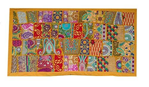 Rastogi artigianato indiano ricamato a mano patchwork old hanging wall art vintage arazzo old sari taglio da appendere alla parete parda, yellow, 20 x 40 inch