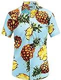 JEETOO Men's Pineapple Shirts Hawaiian Style Short Sleeve Summer Casual(XXX-Large,Blue)