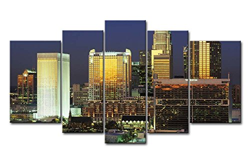 5 Panel Art Wand Bild Charlotte North Carolina Building Abend Bilder Prints auf Leinwand City der Decor Öl für Home Moderne Dekoration Print (Girl Carolina North)