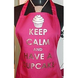 Küchen Schürze mit Druck Keep Calm and have a cupcake pink gold