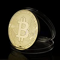Tocoss(TM) 1 x Gold Plated Bitcoin Coin Collectible BTC Coin Art Collection Gift Physical MAR18_15