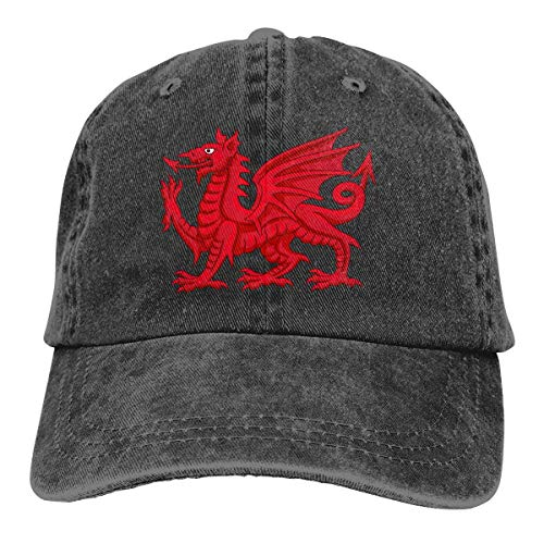 cvbnch Cowboy-Hut Sonnenkappen Sport Hut Welsh Dragon Men's Women's Adjustable Baseball Hat Denim Jeanet Hip-hop Cap Sports Cool Youth Golf Ball Unisex Hiking Cowboy hat hip hop (Hip Hop Bunny Kostüm)
