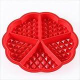 WSS–Rouge Moule en silicone de qualité alimentaire Moules à Gaufres Mini Cœur gaufré Moule à muffins Moule à chocolat Moule Bac à poêle ronde Jolie Forme