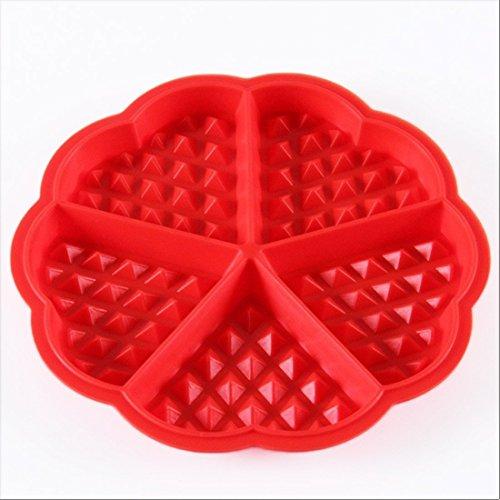 WSS–Rot Bakeware Lebensmittelechtes Silikon Waffel Backen Formen Mini Herz Waffel Form Muffin Schimmel Schokolade Pfanne Tablett rund Schöne Form (Mini Herz Silikon Schimmel)
